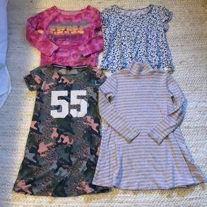 Girl sz 6 bundle 2 dresses, t shirt & sweat shirt